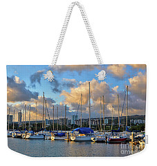 Weekender Tote Bag featuring the photograph Rainbow Bay Marina II by Gina Savage