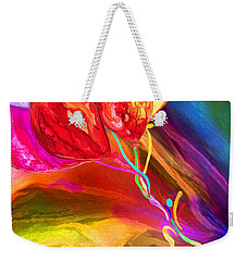 Weekender Tote Bag featuring the mixed media Rainbow Chaser by Carol Cavalaris