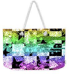 Rainbow Checker Skull Splatter Weekender Tote Bag