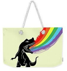 Rainbow Dinosaur Weekender Tote Bag by Mark Ashkenazi