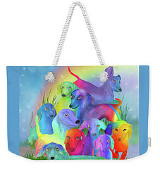 Weekender Tote Bag featuring the mixed media Rainbow Dachshunds 1 by Carol Cavalaris
