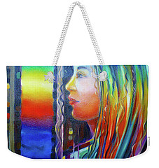 Weekender Tote Bag featuring the painting Rainbow Girl 241008 by Selena Boron