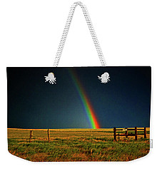 Weekender Tote Bag featuring the photograph Rainbow In A Field 001 by George Bostian
