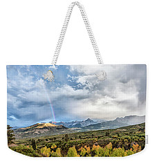 Weekender Tote Bag featuring the photograph Rainbow In The San Juan Mountains by Jon Glaser