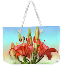 Weekender Tote Bag featuring the photograph Rainbow Lilies by Lois Bryan
