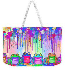 Weekender Tote Bag featuring the painting Rainbow Of Painted Frogs by Nick Gustafson