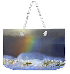 Rainbow On The Banzai Pipeline At The North Shore Of Oahu 2 To 1 Ratio Weekender Tote Bag by Aloha Art