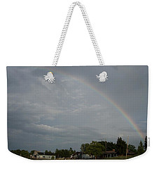 Rainbow Over Beach Cottages Weekender Tote Bag