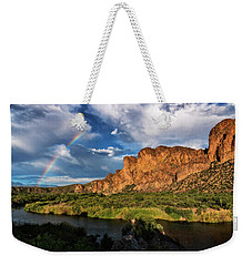 Weekender Tote Bag featuring the photograph Rainbow Over The Bulldogs  by Saija Lehtonen