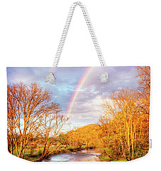 Weekender Tote Bag featuring the photograph Rainbow Over The River II by Debra and Dave Vanderlaan