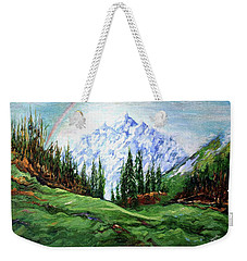 Rainbow Over The Snow Covered Mountain Weekender Tote Bag