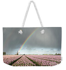 Rainbow Over Windmill And Flower Fields Weekender Tote Bag