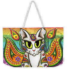 Rainbow Paisley Fairy Cat Weekender Tote Bag