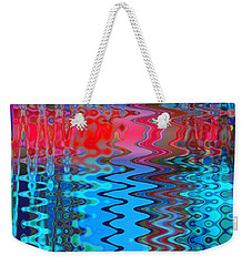 Weekender Tote Bag featuring the digital art Rainbow Riffles by Adria Trail