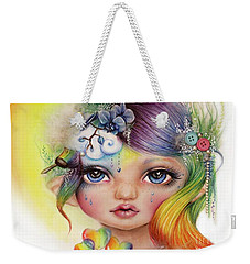 Weekender Tote Bag featuring the mixed media Rainbow Rosalie  by Sheena Pike