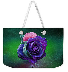 Weekender Tote Bag featuring the photograph Rainbow Rose Among The Stars by Ericamaxine Price
