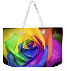 Rainbow Rose In Paint Weekender Tote Bag by Janice Rae Pariza