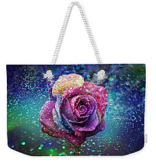Weekender Tote Bag featuring the photograph Rainbow Rose In The Rain by Ericamaxine Price