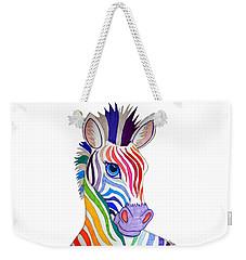Rainbow Striped Zebra Weekender Tote Bag by Nick Gustafson