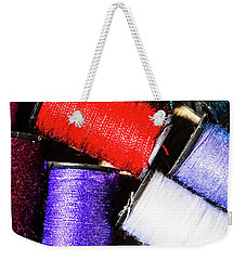 Weekender Tote Bag featuring the photograph Rainbow Threads Sewing Equipment by Jorgo Photography - Wall Art Gallery