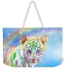 Weekender Tote Bag featuring the mixed media Rainbow Tiger - Horizontal by Carol Cavalaris