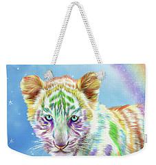Weekender Tote Bag featuring the mixed media Rainbow Tiger - Vertical by Carol Cavalaris