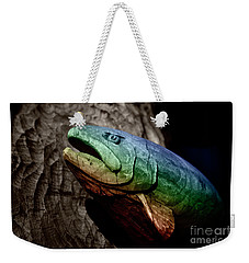 Weekender Tote Bag featuring the photograph Rainbow Trout Wood Sculpture by John Stephens