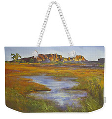 Weekender Tote Bag featuring the painting Rainbow Valley Northern Territory Australia by Chris Hobel