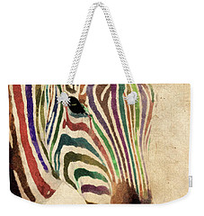 Rainbow Zebra Weekender Tote Bag by Greg Collins