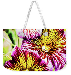 Weekender Tote Bag featuring the photograph Rainbow Zebras by Jessica Manelis