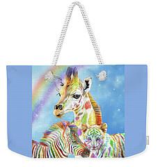 Weekender Tote Bag featuring the mixed media Rainbow Zoo by Carol Cavalaris