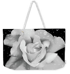 Weekender Tote Bag featuring the photograph Raindrops On Rose Black And White by Jennie Marie Schell