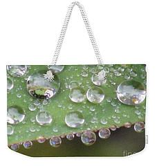 Raindrops On Leaf. Weekender Tote Bag by Kim Tran