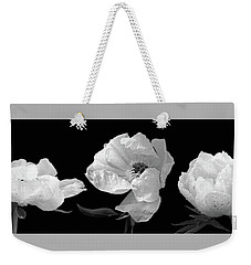 Raindrops On Peonies Black And White Panoramic Weekender Tote Bag by Gill Billington