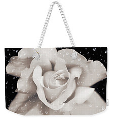 Weekender Tote Bag featuring the photograph Raindrops On Sepia Rose Flower by Jennie Marie Schell