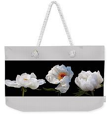 Raindrops On White Peonies Panoramic Weekender Tote Bag by Gill Billington