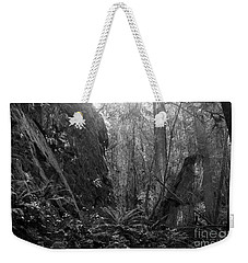Weekender Tote Bag featuring the photograph Rainforest Black And White by Sharon Talson