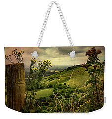 Weekender Tote Bag featuring the photograph Rainy Day Hilltop View On The South Downs by Chris Lord