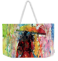 Weekender Tote Bag featuring the painting Rainy Day by Kovacs Anna Brigitta