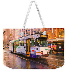 Weekender Tote Bag featuring the painting Rainy Day Melbourne by Chris Armytage