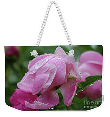 Weekender Tote Bag featuring the photograph Rainy Day Peonies by Rachel Cohen