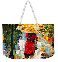 Weekender Tote Bag featuring the painting Rainy Days by Alan Lakin