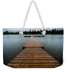 Weekender Tote Bag featuring the photograph Rainy Dock by Darcy Michaelchuk