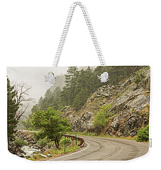 Weekender Tote Bag featuring the photograph Rainy Misty Boulder Creek And Boulder Canyon Drive by James BO Insogna