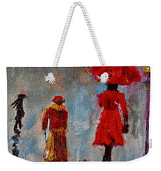Weekender Tote Bag featuring the painting Rainy Spring Day by Sher Nasser