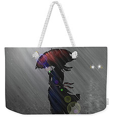 Weekender Tote Bag featuring the digital art Rainy Walk by Darren Cannell
