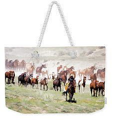 Weekender Tote Bag featuring the digital art Raising Dust On The Great American Horse Drive In Maybell Colorado by Nadja Rider