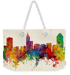 Raleigh North Carolina Skyline Panoramic Weekender Tote Bag by Michael Tompsett