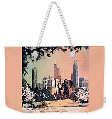 Weekender Tote Bag featuring the painting Raleigh Skyline V by Ryan Fox