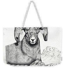 Weekender Tote Bag featuring the drawing Ram by Mayhem Mediums